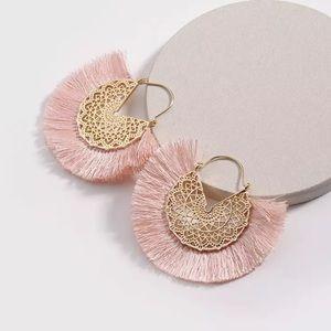 Pink Amelia Filigree Hoop Earrings